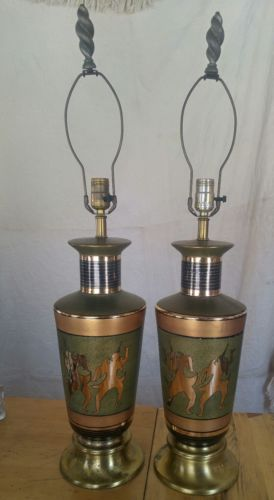 Vintage 1950's Set Of 2 Dancing Jester Lamp Collectible Rare Retro Mid Century