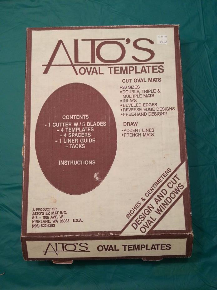 ALTO'S OVAL TEMPLATES CUTS OVAL MATS 20 SIZES BEVELED EDGES