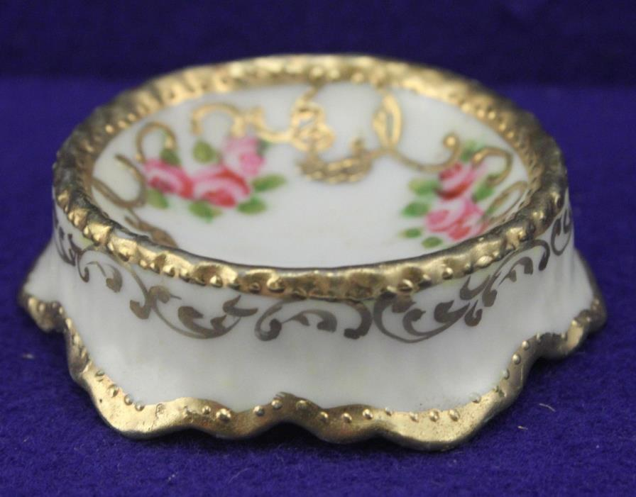Nippon  Hand Painted Floral w/Gold Trim Open Salt Cellar