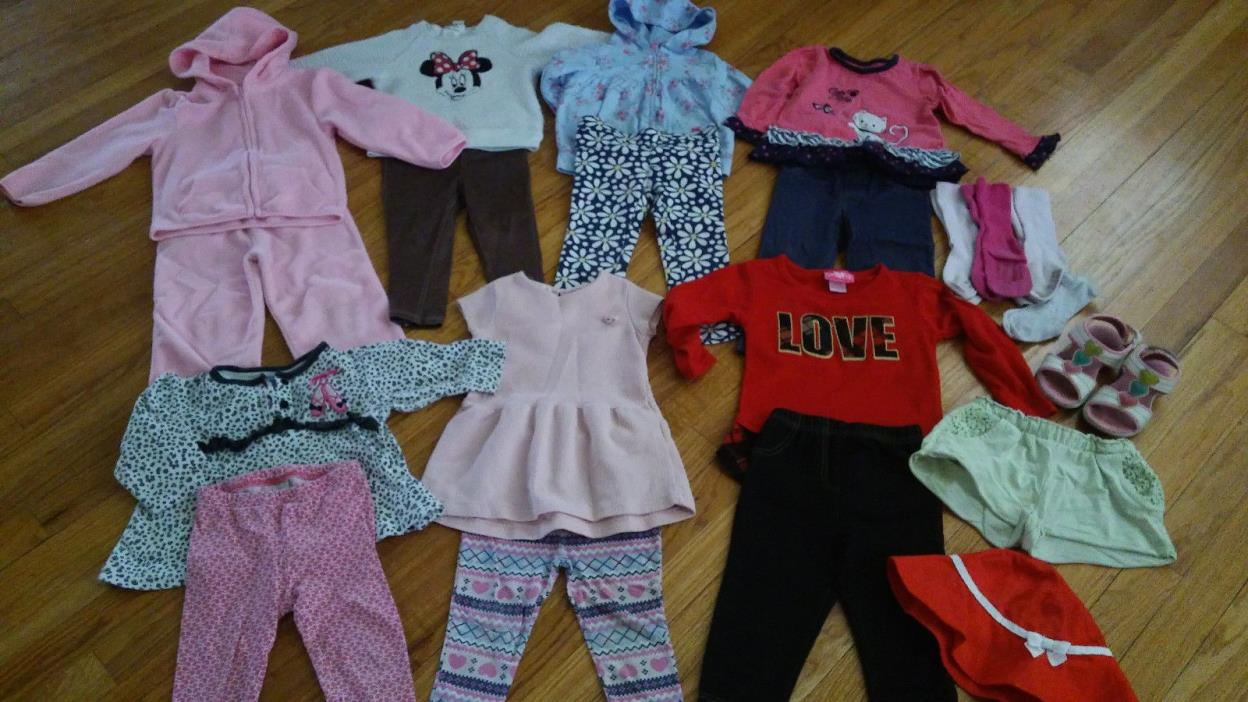 LOT OF 26 CLOTHES - BABY TODDLER GIRL 24 MONTHS 2T - OUTFITS PANTS DRESS SHOES