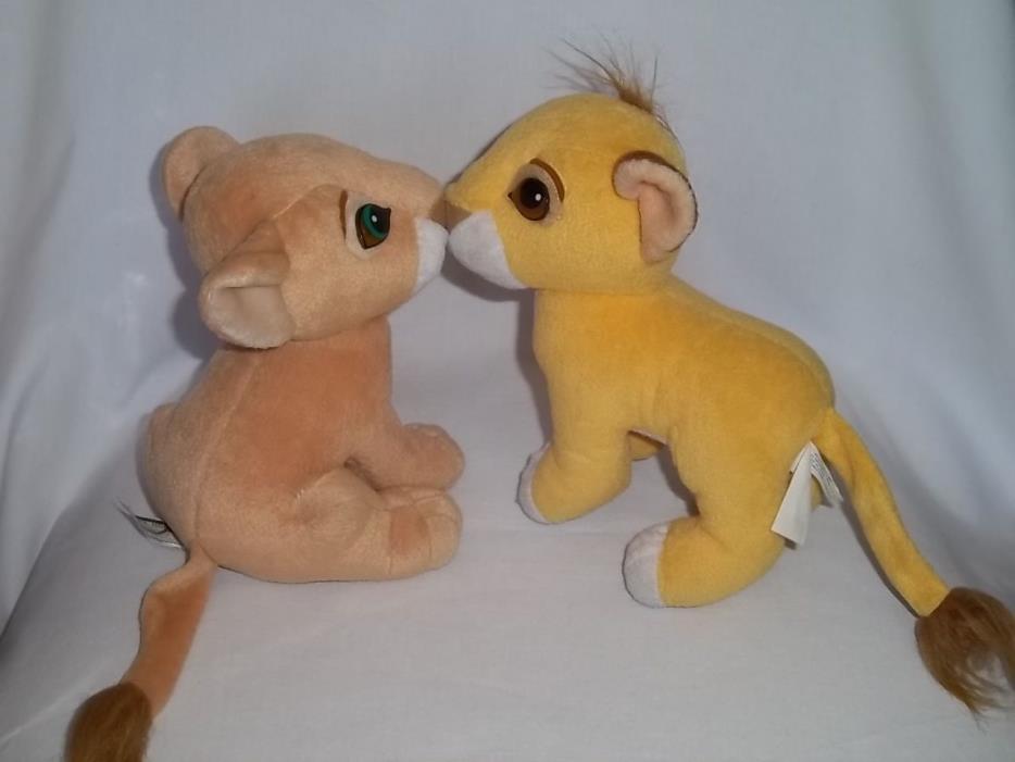 1993 Mattel DISNEY Plush KISSING SIMBA NALA Cub The LION KING Magnetic Nose Set