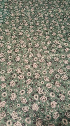 vintage green flower fabric poly blend?