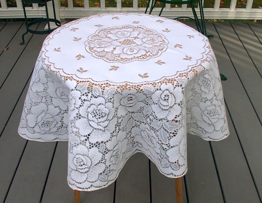 Vintage Small White Round Lace Tablecloth