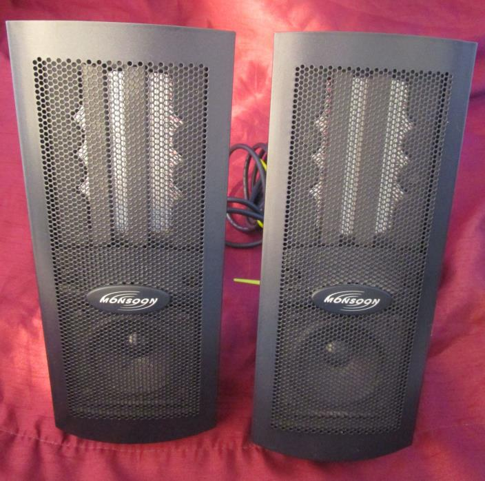 Pair of Monsoon Computer Speakers MH-500 Tested Working Speakers only no Sub