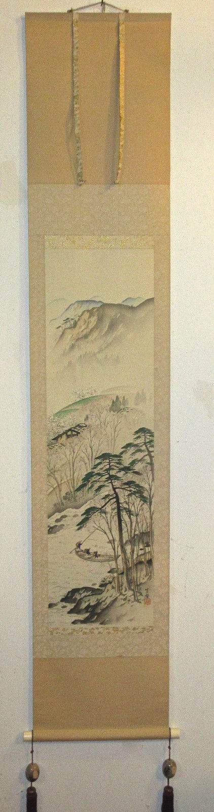 CHINESE SCROLL 3 FISHERMEN IN BOAT MOUTAIN RIVER SCENERY SIGNED & RED SEAL EUC