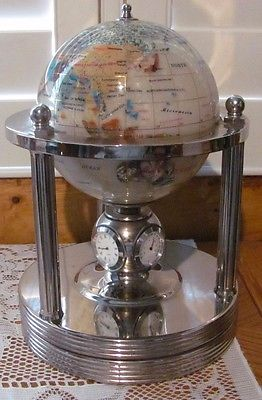 Rotating Mother Of Pearl Globe - Clock - Thermometer - Hygrometer