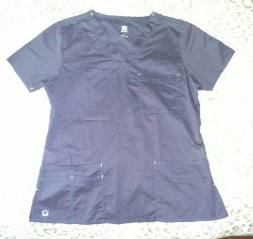 lasies Maven navy blue scrub top size small