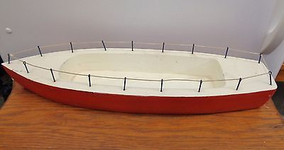 VINTAGE 20 Inch WOODEN TOY BOAT  Antique  Pond  Sailboat  Display