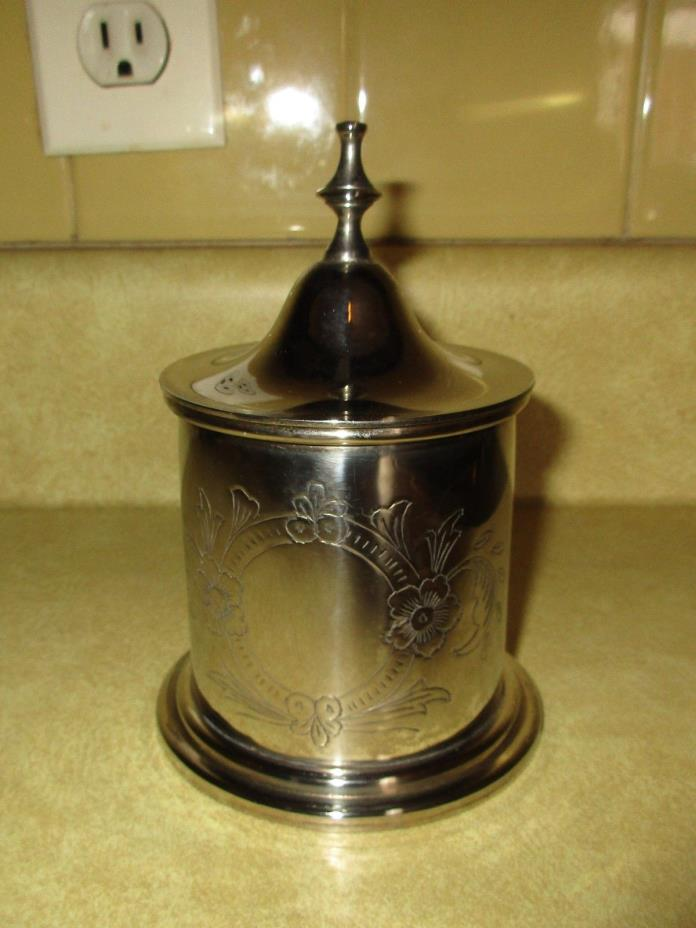 International Silver Silverplate Etched Container w/ Lid - Candy Trinket Box