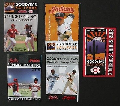 Five Cincinnati Reds & Cleveland Indians Spring Training Pocket Schedules