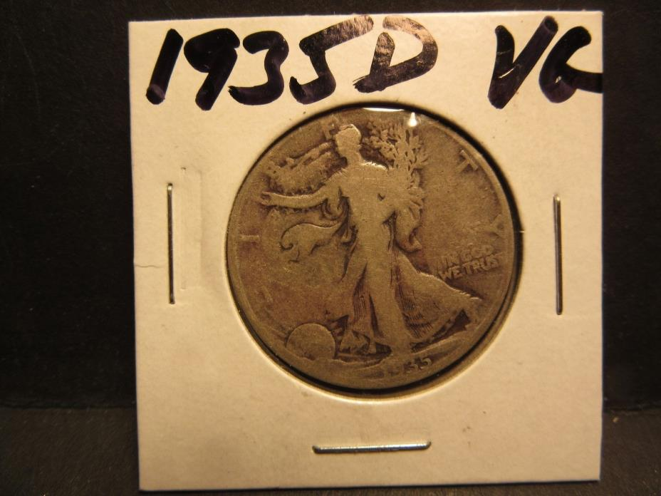 1935D 90% SILVER  VERY GOOD  CONDITION WALKING LIBERTY HALF DOLLAR NO DEFECTS