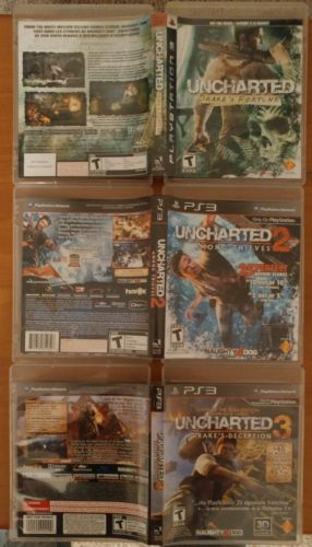 PS3 Game Lot: Uncharted Game Bundle [3 Games] (LIGHTLY USED - NO MANUALS)