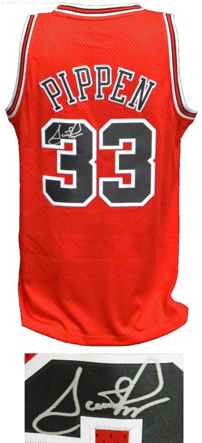 Scottie Pippen Signed Chicago Bulls Red Adidas NBA Swingman Jersey