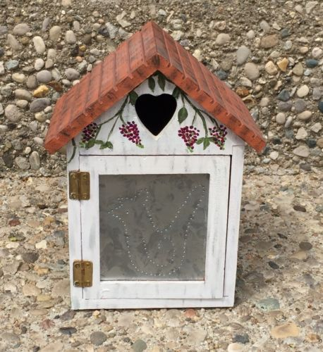 Small Wooden Hand Painted Birdhouse Tin Door Grapevines Purple Flowers