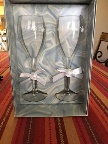 Rose Bow Toasting Glass Wedding Flutes 8.5