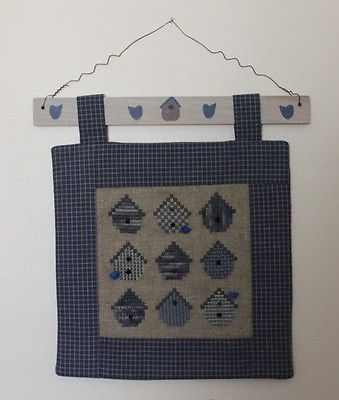 Cross Stitch Wall Hanging: Birdhouses