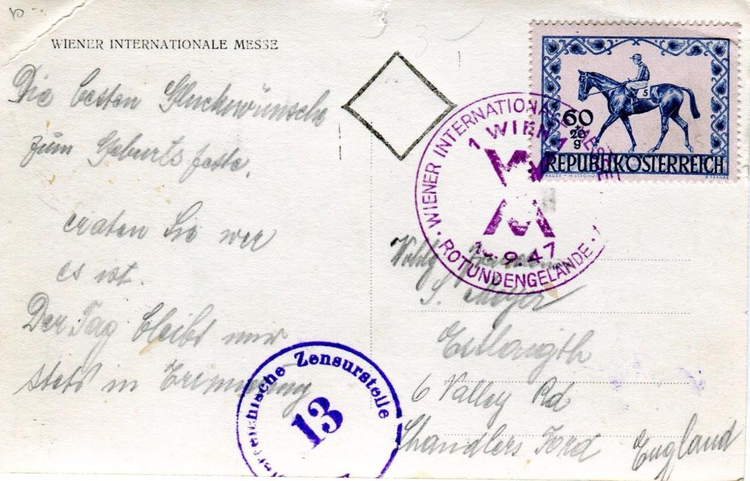 1947 Wien Austria - Expo Messe 1947 Cover Special Cancel Horse Race postcard