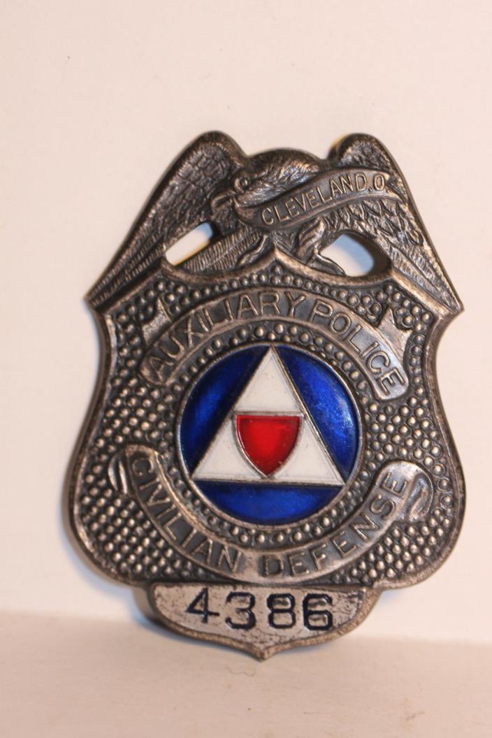 Obsolete Auxiliary Police Civilian Defense Cleveland Ohio Badge Sterling ww2