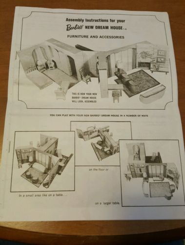 Reproduction Assembly Instructions for Barbies New Dream House 1964