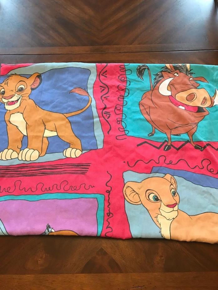 Vintage Disney The Lion King Twin Size Flat Bed Sheet Cutter Fabric Nala Simba