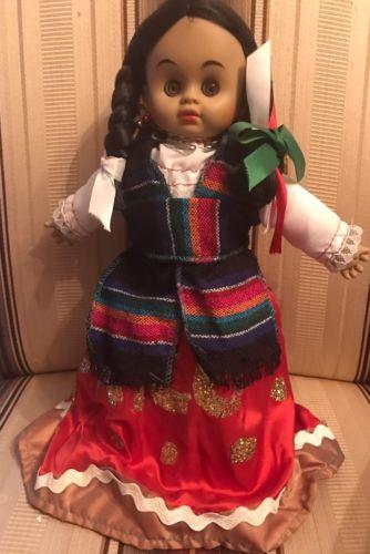 Vintage Mexican Traditional Dress Sleepy Eyed Plastic Cloth 12