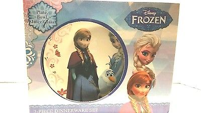 Disney Frozen 3-Piece Dinnerware Set Plate bowl juice glass