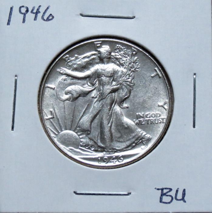1946 BU Problem Free Walking Liberty Half Dollar 7F12UGA