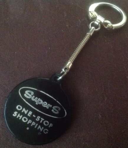 Vintage Advertising Key Chain Plastic And Metal Chain Super S One Stop Shopping