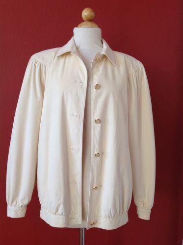 Vintage Da Rue For I. MAGNIN Ivory Cream Facile Soft Ultrasuede Fabric Jacket 8
