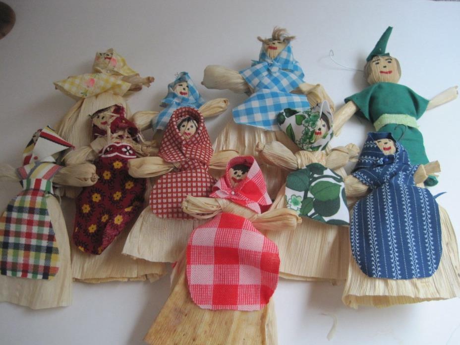 Vintage Handmade by Children Corn Husk Dolls - set of 10