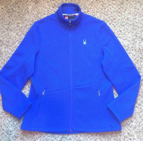 SPYDER Core Blue Knit Sweater Jacket Women's XL