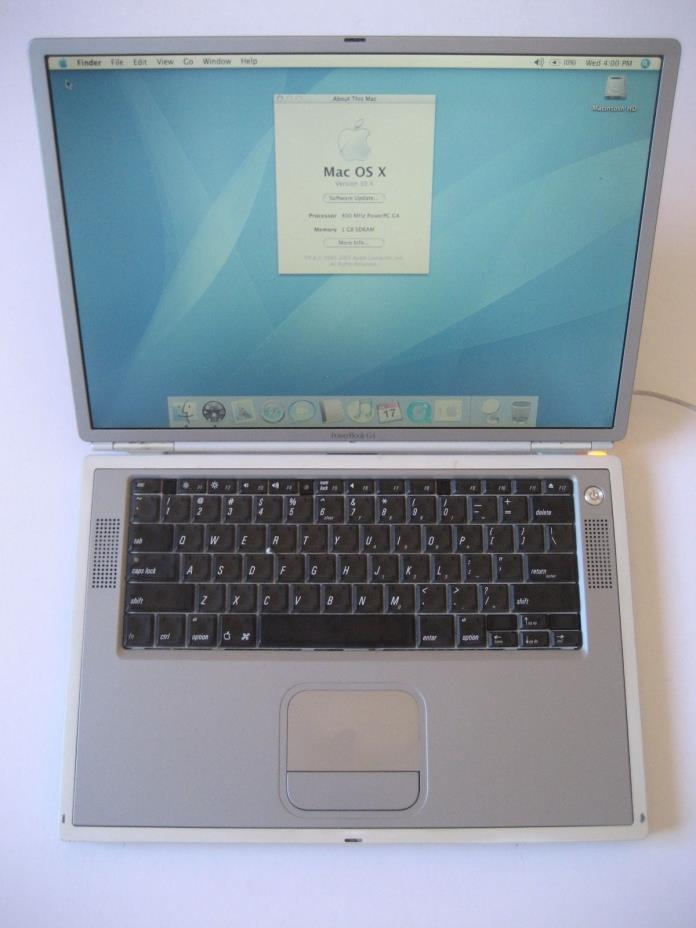 Vintage APPLE POWERBOOK G4 400MHZ TITANIUM LAPTOP WORKS GREAT