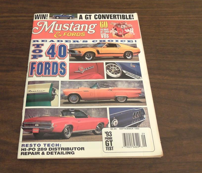 Mustangs and Fords September 1992 magazine issue