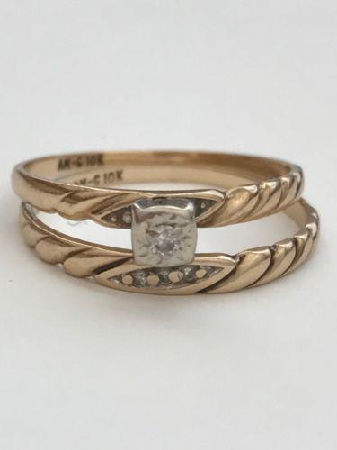 Ladies 10k Solid Yellow Gold Diamonds Wedding Ring Band Bridal Set
