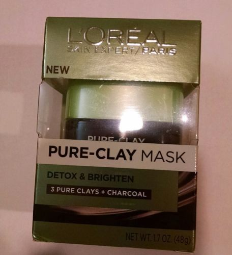 Loreal Skin Expert Pure-Clay Mask Detox Brighten Clays Charcoal 1.7 oz NEW