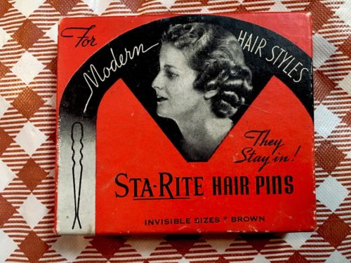 Vintage 40s deco  STA-RITE Hair Pins w box for  modern hair styles