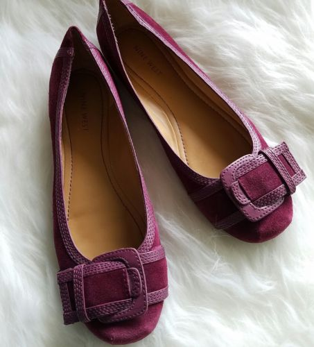 EUC Nine West Women's Purple Suede Skimmer Flat Shoes Buckle Detail Size 8.5M