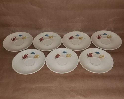 7 Vtg Franciscan Earthenware Saucers Autumn Pattern Gladding McBean Co Plates