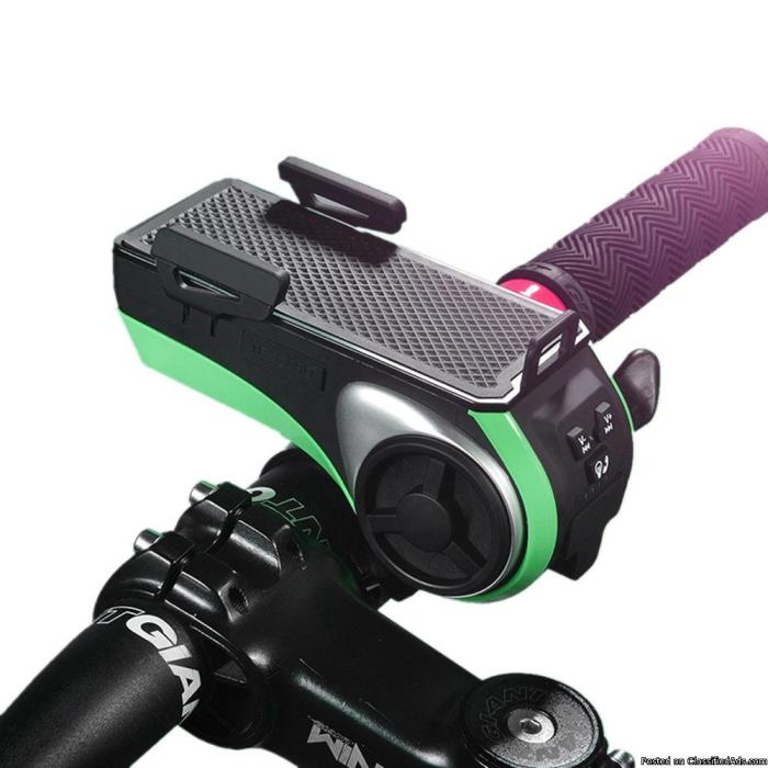 Multi-function Bike Bluetooth Speaker with Power Bank + Bike Light +Phone Holder