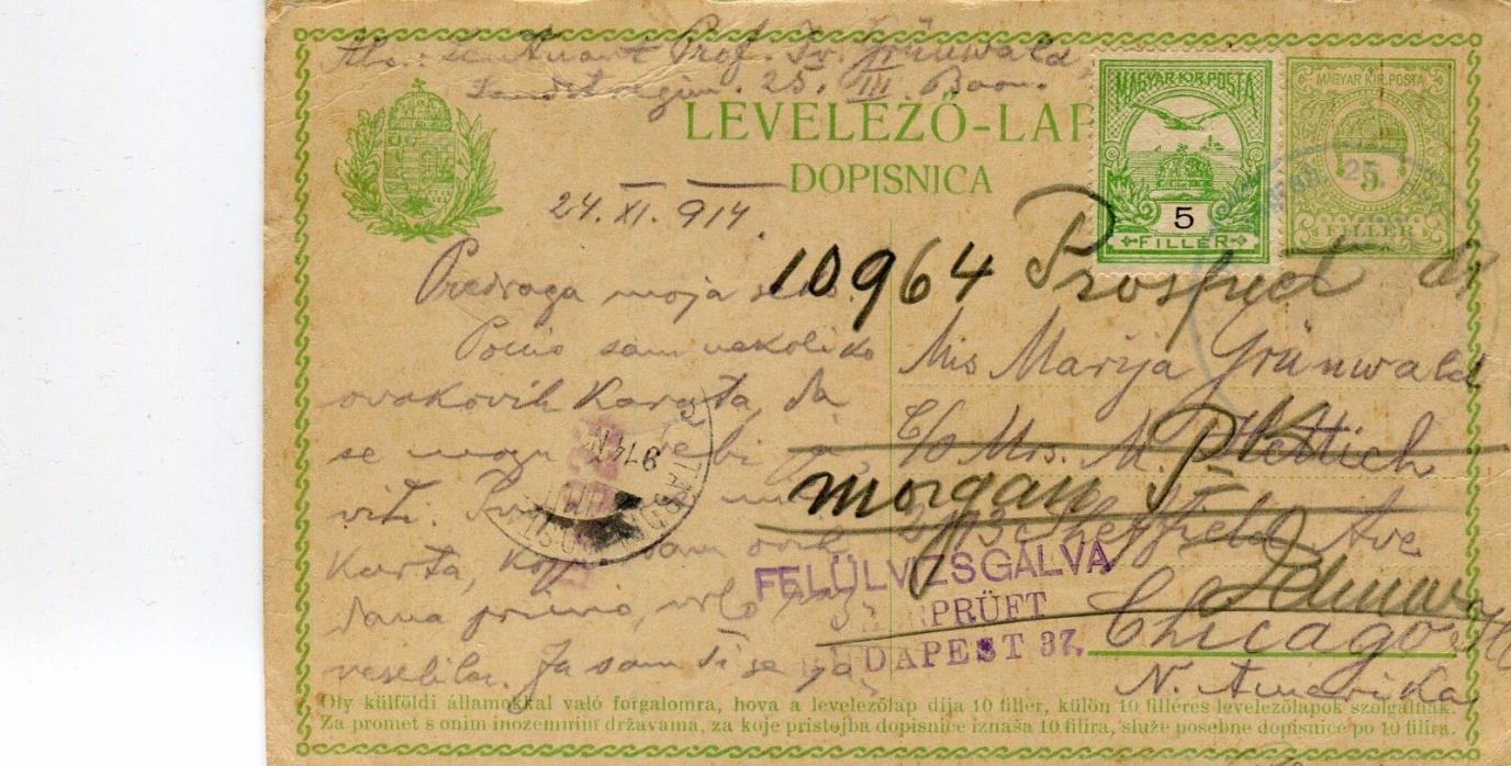 1914 Hungary Budapest censored Cover on uprated PC Card