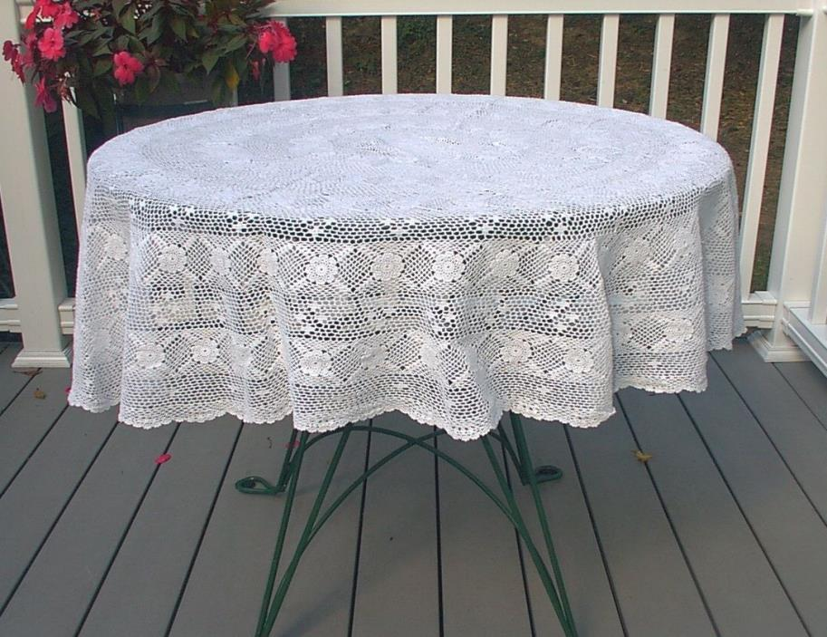Vintage Round White Crocheted Lace Tablecloth