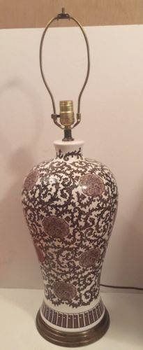 Vintage Chinese Oriental Porcelain Vase Table Lamp ~ Brown & White 1980s