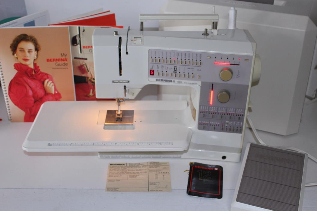 Bernina 1230 Sewing Machine with Case Manuals Foot Control Bed Extension