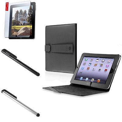 Black Leather Case Smart Cover+Screen Film+Black+Silver Touch Stylus For iPad 1