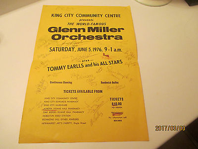 KING CITY ONTARIO GLEN MILLER POSTER 1976 SIGNED BY  ALL IT'S MEMBERS.