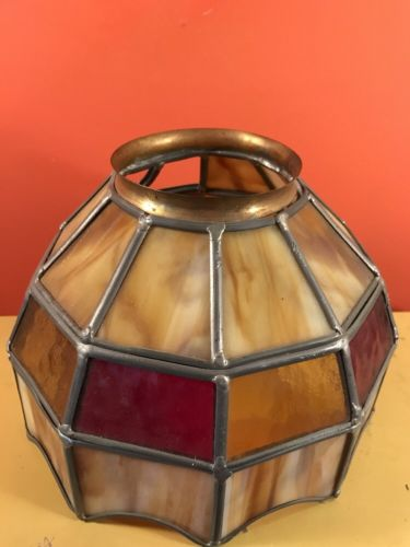 Vintage Stained Glass Slag Glass Leaded Light Shade Lamp Shade