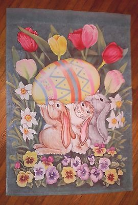 3 SWEET BUNNIES & A PAINTED EGG EASTER SPRING LARGE HOUSE FLAG 25'X36