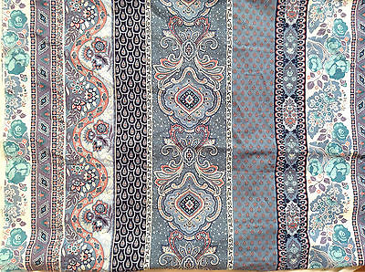 Vintage? Dusty Blue Striped FRENCH FABRIC Paisley/Floral Grand Teint Meuble 4+yd