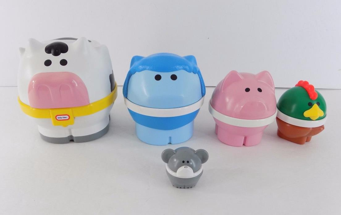 Vintage Little Tikes Farm Animal Nesting Toy Cow  Sheep Pig Chicken & Mouse