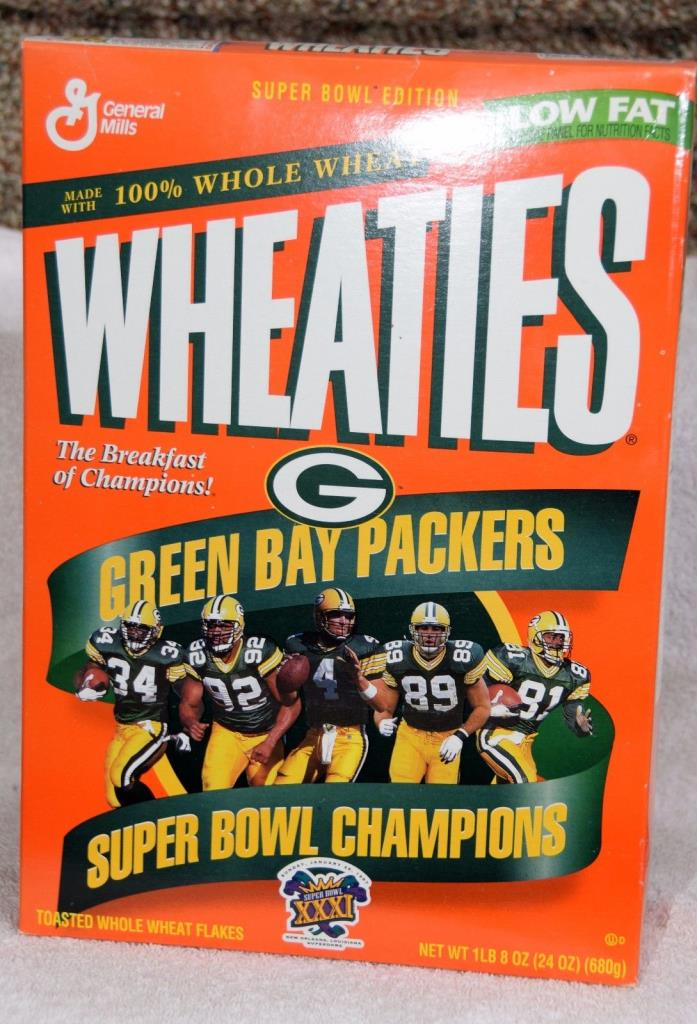 Green Bay Packers Wheaties Cereal Box Superbowl XXXI Champions 1996- FULL UNOPEN